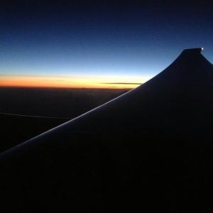Flying through the sunrise